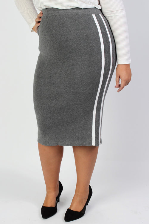 Plus Size Clothing for Women - Mia Racer Stripe Knit Pencil Skirt - Grey - Society+ - Society Plus - Buy Online Now! - 1
