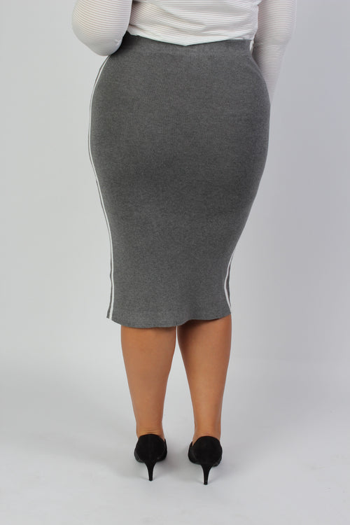 Plus Size Clothing for Women - Mia Racer Stripe Knit Pencil Skirt - Grey - Society+ - Society Plus - Buy Online Now! - 2
