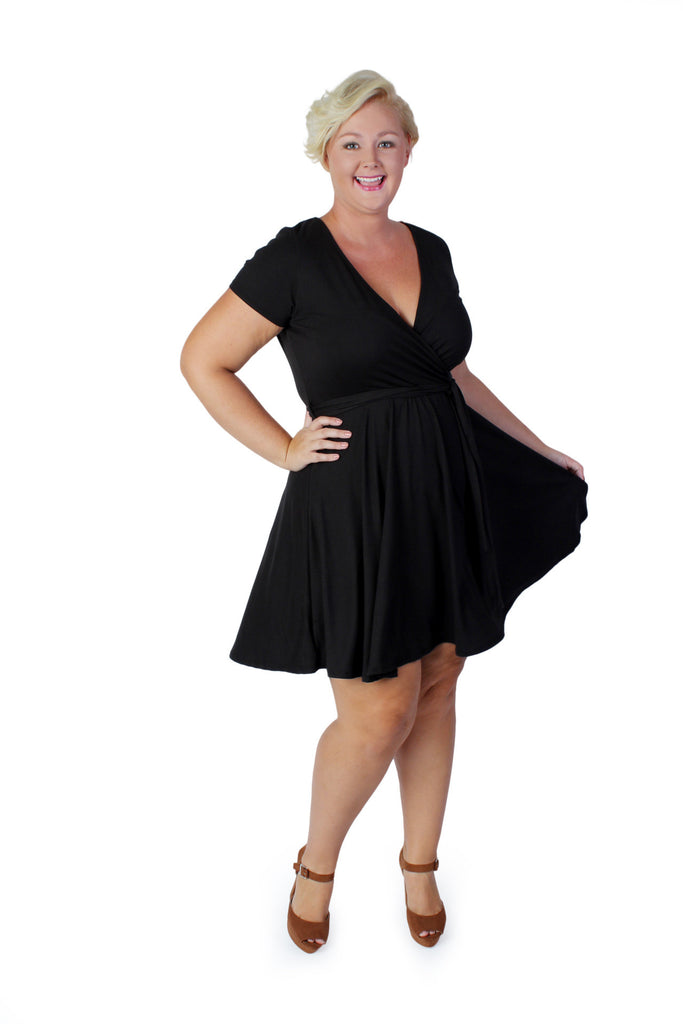 Plus Size Clothing for Women - Day Dreamer Faux Wrap Dress - Black - Society+ - Society Plus - Buy Online Now! - 1
