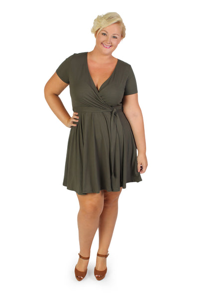 Plus Size Clothing for Women - Day Dreamer Faux Wrap Dress - Olive - Society+ - Society Plus - Buy Online Now! - 1