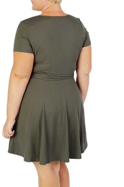 Plus Size Clothing for Women - Day Dreamer Faux Wrap Dress - Olive - Society+ - Society Plus - Buy Online Now! - 2