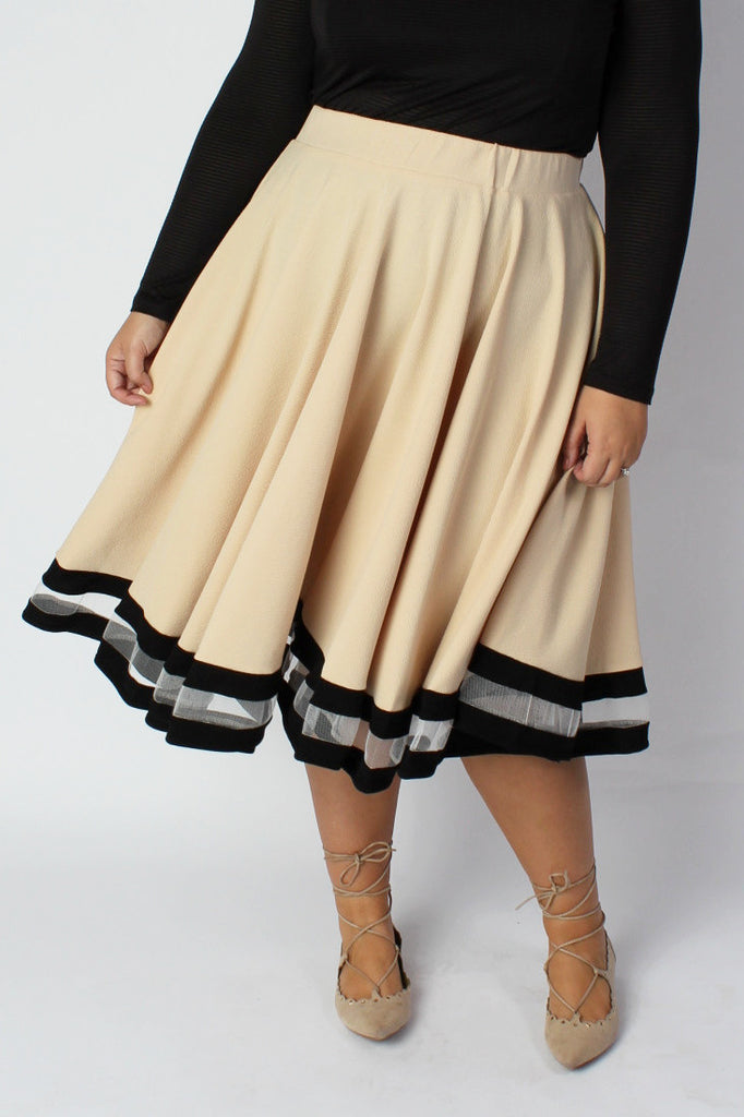 Plus Size Clothing for Women - Varsity Skirt - Tan - Society+ - Society Plus - Buy Online Now! - 1