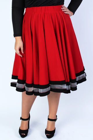 Plus Size Clothing for Women - Varsity Skirt - Red - Society+ - Society Plus - Buy Online Now! - 1