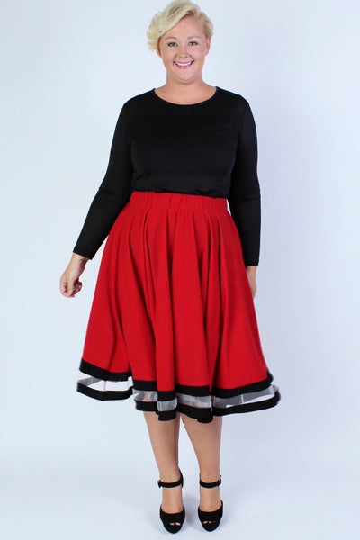 Plus Size Clothing for Women - Varsity Skirt - Red - Society+ - Society Plus - Buy Online Now! - 2
