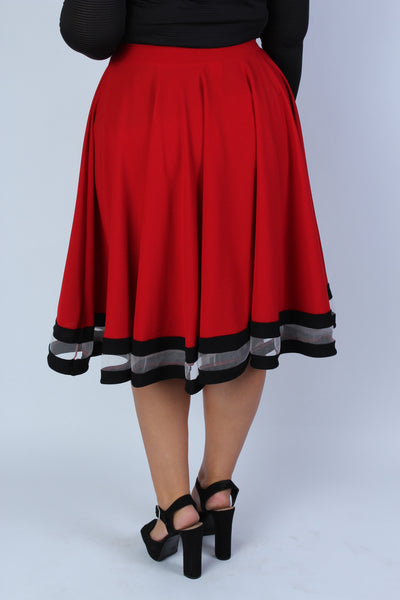 Plus Size Clothing for Women - Varsity Skirt - Red - Society+ - Society Plus - Buy Online Now! - 4