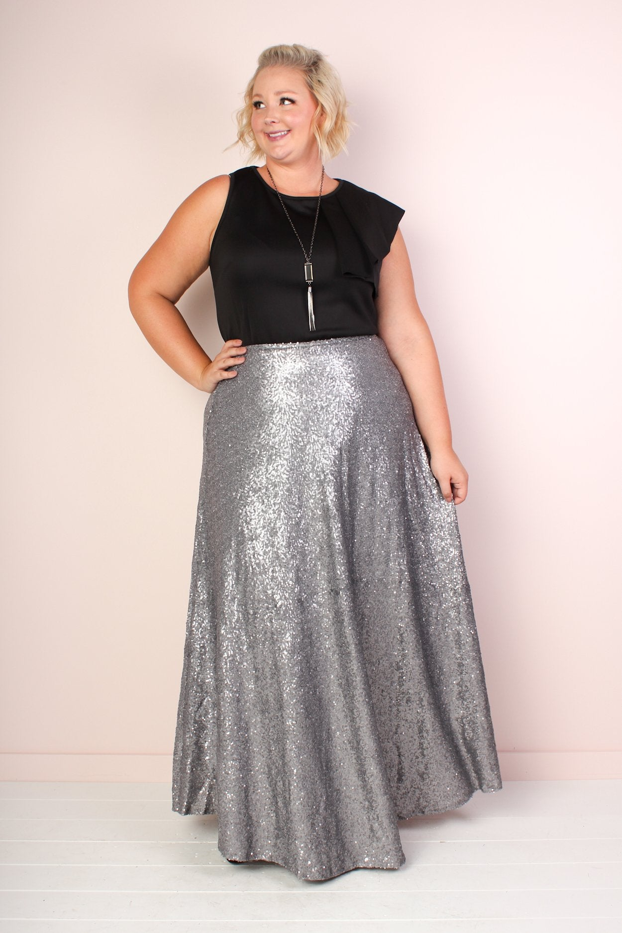 Plus Size Sequin Maxi Skirt - Silver – Society Plus