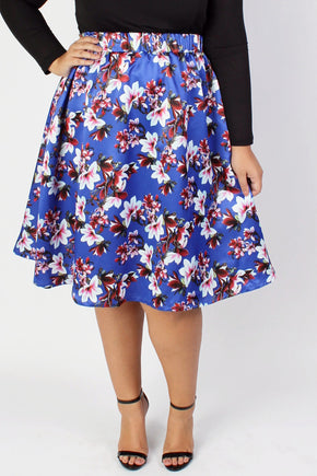 Plus Size Clothing for Women - Fleur de Fleur Skirt - Bright Blue-Hold for Stitch Fix - Society+ - Society Plus - Buy Online Now! - 1