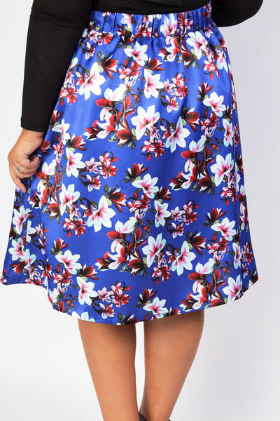 Plus Size Clothing for Women - Fleur de Fleur Skirt - Bright Blue - Society+ - Society Plus - Buy Online Now! - 2