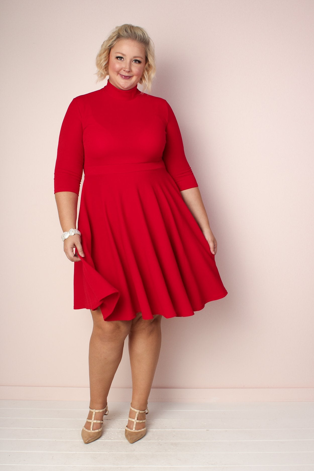 Ava Mock Neck Dress - Red
