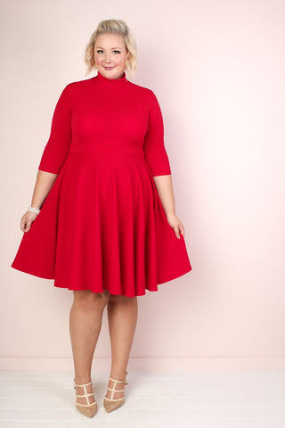 Zoey Pleated Dress - Cardinal Red