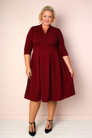 S+ Basics Jersey Tunic with Crisscross Neck - Burgundy