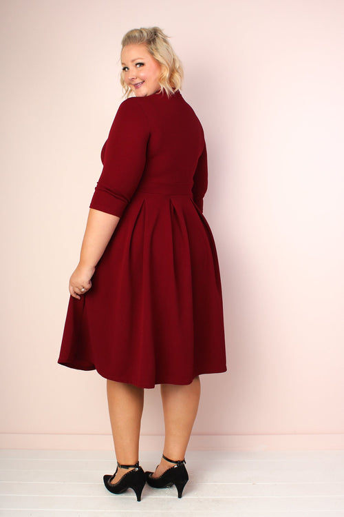 Valerie Pleated V-Neck Dress - Burgundy