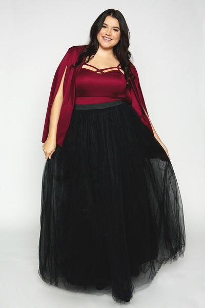 Plus Size Clothing for Women - Society+ Cape - Burgundy - Society+ - Society Plus - Buy Online Now! - 2