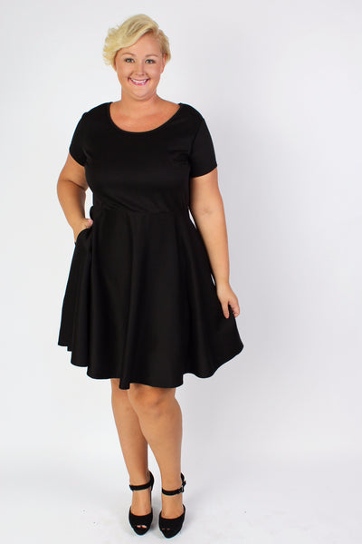 Plus Size Clothing for Women - Tinley Solid Skater Dress - Black - Society+ - Society Plus - Buy Online Now! - 3