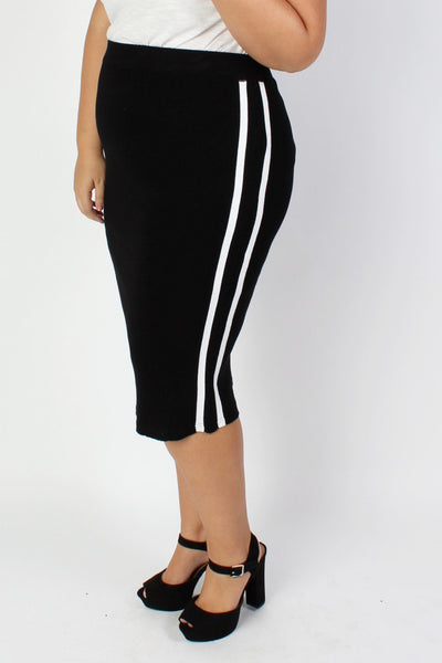 Plus Size Clothing for Women - Mia Racer Stripe Knit Pencil Skirt - Black - Society+ - Society Plus - Buy Online Now! - 1