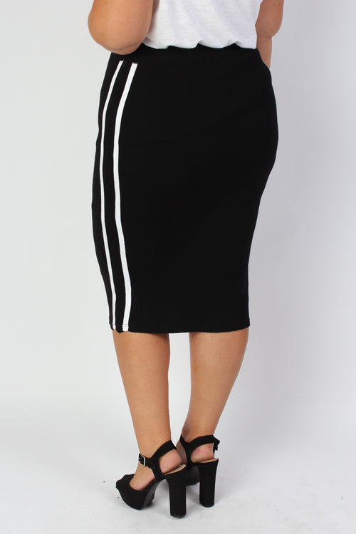 Plus Size Clothing for Women - Mia Racer Stripe Knit Pencil Skirt - Black - Society+ - Society Plus - Buy Online Now! - 2