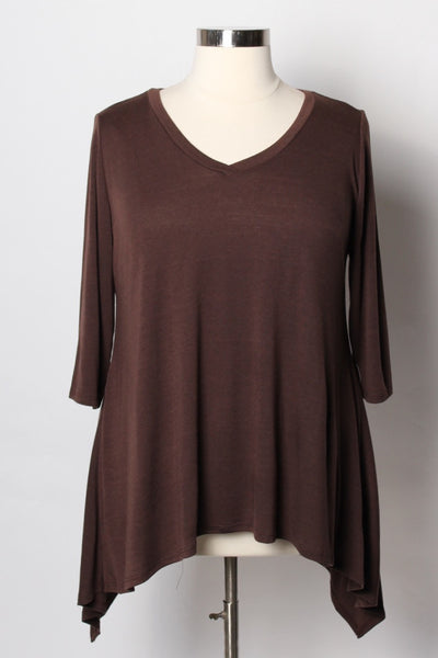 Plus Size Clothing for Women - Solid Half Sleeve Top - Brown - Society+ - Society Plus - Buy Online Now! - 1
