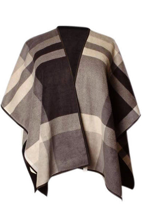 Poppy Plaid Poncho - Camel