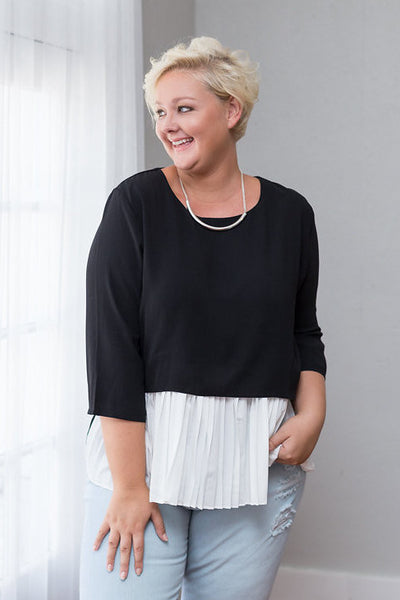 Plus Size Clothing for Women - Clara Pleated Detail Top - Black/White - Society+ - Society Plus - Buy Online Now! - 1