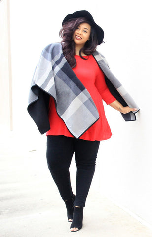 Plus Size Clothing for Women - Poppy Plaid Poncho - Black/Grey - Society+ - Society Plus - Buy Online Now! - 1