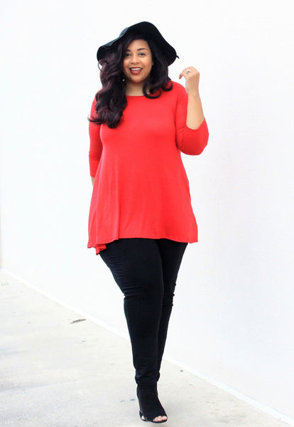 Plus Size Clothing for Women - Katherine 3/4 Sleeve Top - Red - Society+ - Society Plus - Buy Online Now! - 3