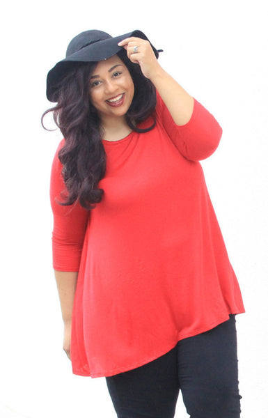 Plus Size Clothing for Women - Katherine 3/4 Sleeve Top - Red - Society+ - Society Plus - Buy Online Now! - 1