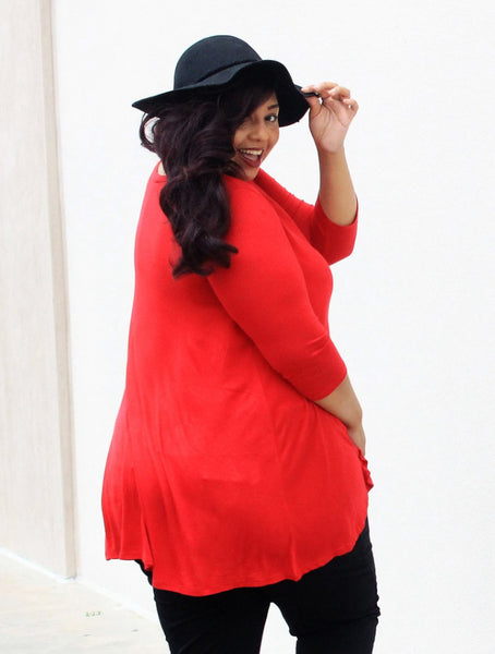 Plus Size Clothing for Women - Katherine 3/4 Sleeve Top - Red - Society+ - Society Plus - Buy Online Now! - 4