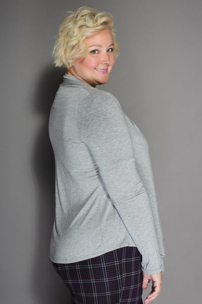 Plus Size Clothing for Women - Waterfall Cardigan - Gray - Society+ - Society Plus - Buy Online Now! - 3