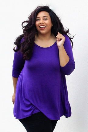 Plus Size Clothing for Women - Katherine 3/4 Sleeve Top - Purple - Society+ - Society Plus - Buy Online Now! - 1