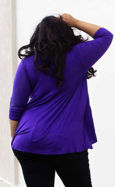 Plus Size Clothing for Women - Katherine 3/4 Sleeve Top - Purple - Society+ - Society Plus - Buy Online Now! - 3