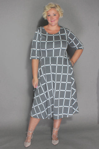 Plus Size Clothing for Women - I'm Plaidered Skater Dress - Grey/White - Society+ - Society Plus - Buy Online Now! - 1