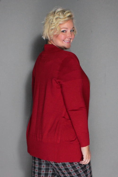 Plus Size Clothing for Women - You, Me, & A Cup of Tea Cardi - Dark Red - Society+ - Society Plus - Buy Online Now! - 2