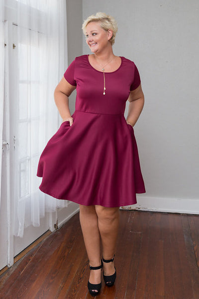 Plus Size Clothing for Women - Tinley Solid Skater Dress - Marsala - Society+ - Society Plus - Buy Online Now! - 2