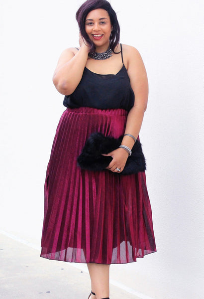 Plus Size Clothing for Women - Pixie Dust Pleated Skirt - Magenta - Society+ - Society Plus - Buy Online Now! - 1