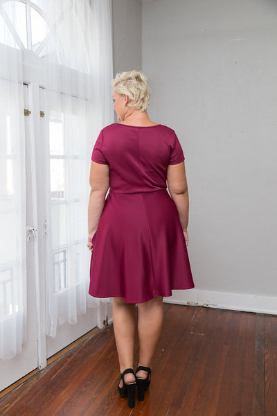 Plus Size Clothing for Women - Tinley Solid Skater Dress - Marsala - Society+ - Society Plus - Buy Online Now! - 3
