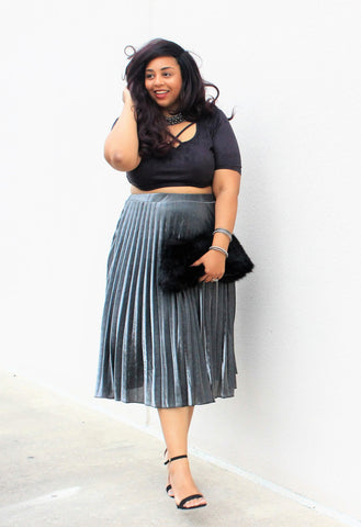Plus Size Clothing for Women - Pixie Dust Pleated Skirt - Silver - Society+ - Society Plus - Buy Online Now! - 1