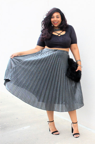 Plus Size Clothing for Women - Pixie Dust Pleated Skirt - Silver - Society+ - Society Plus - Buy Online Now! - 2