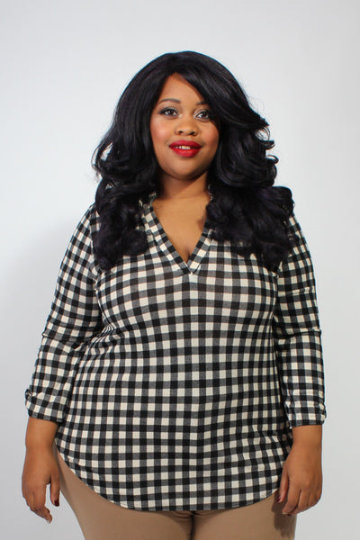Plus Size Clothing for Women - Rylan Plaid Roll-Sleeve Top - Society+ - Society Plus - Buy Online Now! - 1
