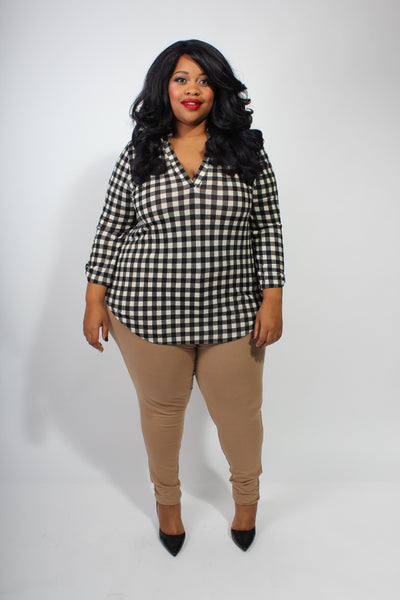 Plus Size Clothing for Women - Rylan Plaid Roll-Sleeve Top - Society+ - Society Plus - Buy Online Now! - 2