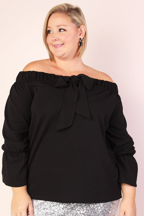 Leah Off Shoulder Stretchy Bow Top - Black