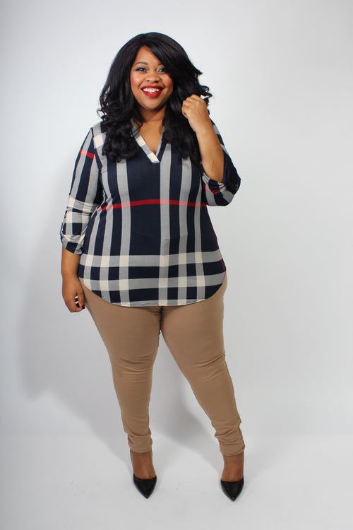 Plus Size Clothing for Women - Kylie Plaid Roll-Sleeve Top - Society+ - Society Plus - Buy Online Now! - 2