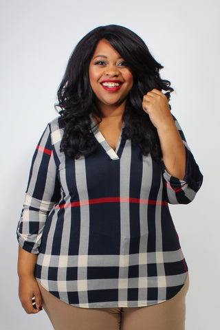 Plus Size Clothing for Women - Kylie Plaid Roll-Sleeve Top - Society+ - Society Plus - Buy Online Now! - 1