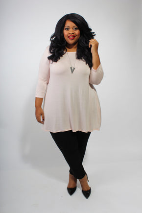 Plus Size Clothing for Women - Katherine 3/4 Sleeve Top - Rose - Society+ - Society Plus - Buy Online Now! - 1