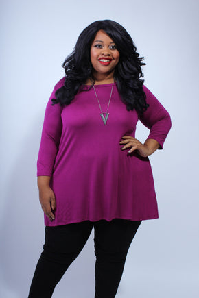 Plus Size Clothing for Women - Katherine 3/4 Sleeve Top - Magenta - Society+ - Society Plus - Buy Online Now! - 1
