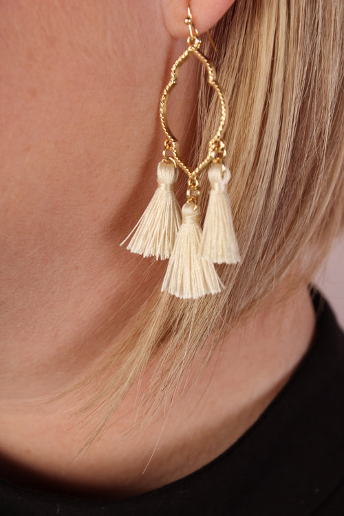 Clover Baby Tassel Dangle Earrings - Ivory