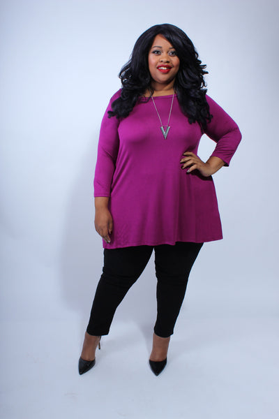 Plus Size Clothing for Women - Katherine 3/4 Sleeve Top - Magenta - Society+ - Society Plus - Buy Online Now! - 4