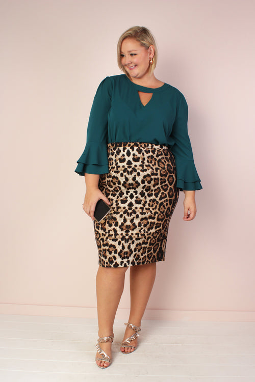 Ellie Stretchy Bell Sleeve Tunic with Keyhole - Sea Green