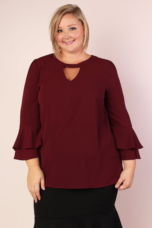 Ellie Stretchy Bell Sleeve Tunic with Keyhole - Wine