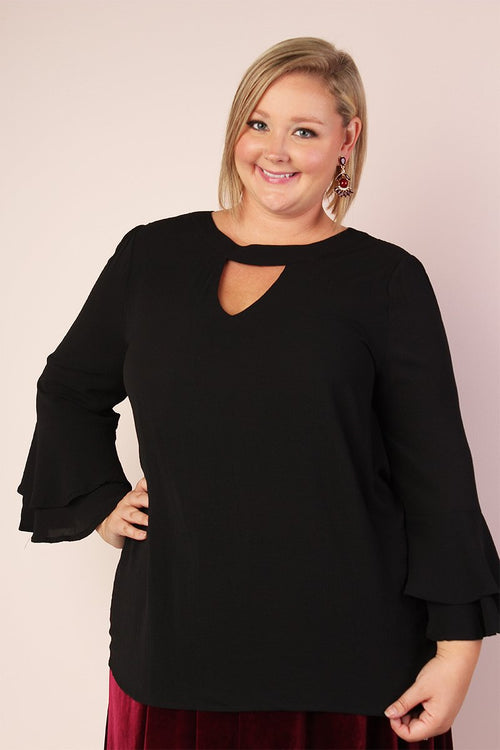 Ellie Stretchy Bell Sleeve Tunic with Keyhole - Black