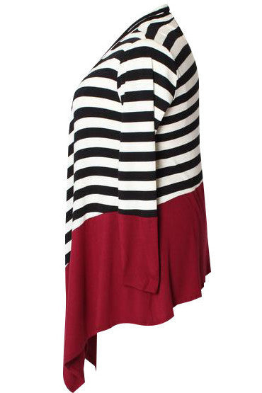 Amelie Striped Waterfall Cardi - Black/Burgundy